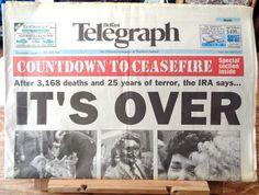 Vintage newspaper Belfast Telegraph August 31 1994 Northern Ireland Troubles ceasefire history original Northern Irish broadsheet newspaper by TrooperslaneBooks on Etsy