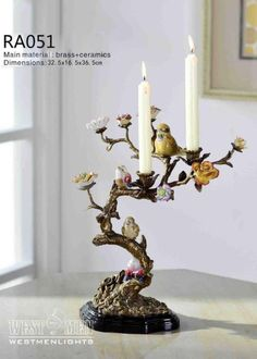 Westmen Lights Decorative Tree and Bird Ornament Metal Candelabra Candelabra Centerpiece, Centerpieces, Bird Stand, Bird Ornaments, Summer Design, Porcelain Jewelry, Ginger Jars, Fireplace Mantels, Tree Decorations