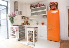 Smeg Retro Style Right Hand Hinged Orange Fridge Freezer - 1 Small Kitchen Floor Plans, Small Kitchen Layouts, Kitchen On A Budget, Small Kitchens, Kitchen Small, Retro Kitchen Appliances, White Kitchen Cabinets, Smeg Kitchen, Diy Kitchen Decor