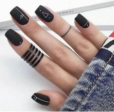 Have you heard of the idea of minimalist nail art designs? These nail designs are simple and beautiful. You need to make an art on your finger, whether it& simple or fancy nail art, it looks good. Of course, you may have seen many simple and beaut Black Acrylic Nails, Black Nail Art, Best Acrylic Nails, Black Nails, Black Polish, Black Glitter, Black Nail Designs, Simple Nail Designs, Acrylic Nail Designs