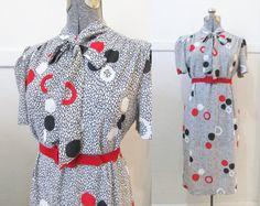 Vintage 70s Dress Kitten Bow 1X 2X by GoodNPlentyVinty on Etsy, $29.99