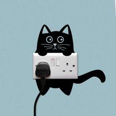 Cat Power Socket Wall Sticker
