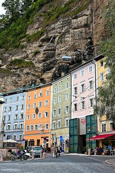 Buildings are built right into the mountain in Salzburg, Austria