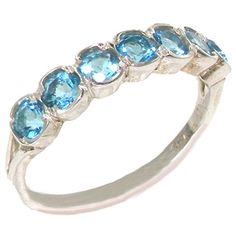 925 Sterling Silver Natural Blue Topaz Womens Band Ring - Sizes 4 to 12 Available *** Want to know more, click on the image.