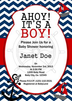 PRINTABLE INVITATION Nautical Baby shower by AtomDesign on Etsy