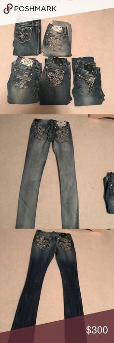Miss me jeans and Rock Revivals Most are size 24, there are a few 25s. 33-35 inseam. Comment which you are interested in and I can get more pics and individual posts up. :) most are skinny. A few boot cut jeans. $300 for all Rock Revival Jeans