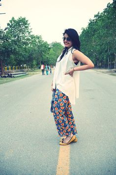 Heart print on pants, and a high-low hemline top