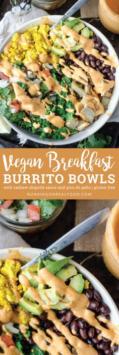 This vegan breakfast burrito bowl with cashew chipotle sauce features all the goods: avocado, peppers, black beans, potatoes, pico de gallo and tofu scramble. Gluten-free, oil-free. via @runonrealfood