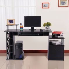 Computer Desk Black Writing Table Workstation Drawer Shelves Keyboard Tray Rack