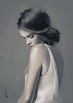 """Quiet"" - Wang Ling (a.k.a. Wlop), People's Republic of China {contemporary figurative art beautiful female shoulder back woman face bowed head profile digital portrait painting}"