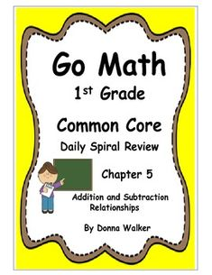 Harcourt Go Math Common Core Daily Spiral Review For 1st Grade Chapter 5 Go Math Daily Spiral Review Spiral Review