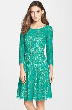 Eliza J Belted Lace Fit Flare Dress Regular Pee Nordstrom