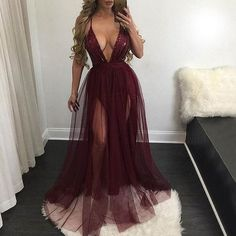 Sexy Deep V-Neck Spaghetti Long A-line Maroon Tulle Sequin Prom Dresses