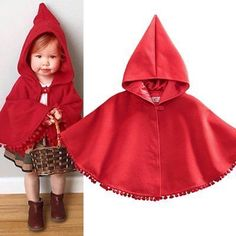Toddler Kids Baby Winter Red Hooded Cape Cloak Poncho Coat Hoodie Jacket Outwear #babycoats