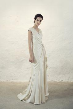 Cortana Wedding Dress. Cristal dress, a bias cut wrap silk satin dress with godets and a slight tail. Made in Barcelona. Cortana Bridal Collection 2017. Shop now.