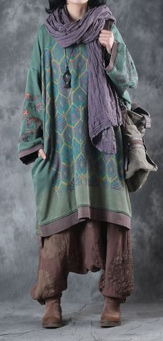 Fine green print Midi-length cotton dress plus size clothing dresses boutique low high design o neck natural dress