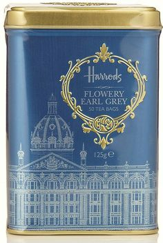 ✿⊱╮(¯`★´¯)Harrods Flowery Ear Grey Tea Caddy.Too gorgeous! Branding And Packaging, Tea Packaging, Identity Branding, Visual Identity, Packaging Design, Harrods, Chai, Tea Tins, Tea Canisters