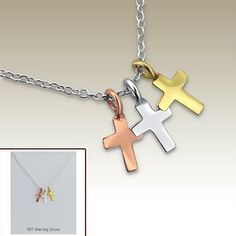 Silver necklace with cross pendants incl. display card - 17070