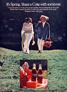 1969 Coca Cola original vintage advertisement. It's spring. Share a Coke with someone. Things go better with Coke.