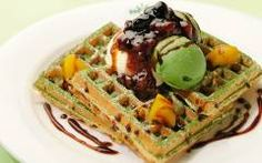 waffle with matcha green tea ice cream