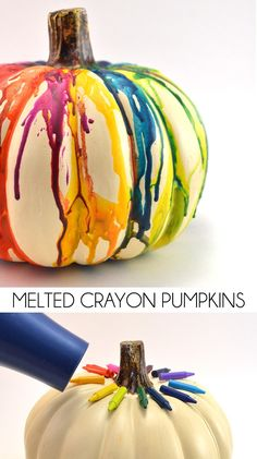 Halloween Decoration: DIY Fall Melted Crayon Pumpkin: use orange or black crayons to add color to white pumpkins. Or use both orange and black crayons to decorate a white pumpkin. Try just black crayons on orange pumpkins. Diy Halloween, Theme Halloween, Adornos Halloween, Manualidades Halloween, Holidays Halloween, Halloween Makeup, Halloween Crafts For Girls, Halloween Costumes For Tweens, Halloween Sayings