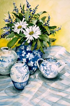 Blue and White with Daisies