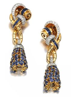 Pair of sapphire and diamond pendent ear clips, Boucheron, 1940s