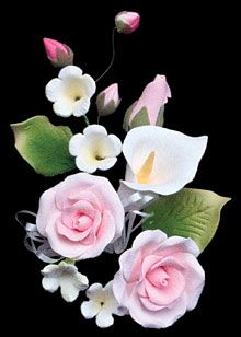 """Pink Tea Rose & Lily Spray. Gumpaste. 6"""" - Item #391472. Also available in White - Item #391471. Certified Kosher. Contains Wire."""