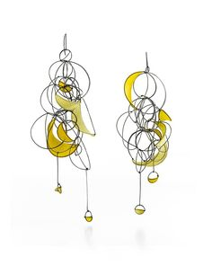 """Tia Kramer - Swoon Series Earrings Oxidized sterling silver and handmade paper 7"""" x 3.75"""" x 1.5"""" 478$"""
