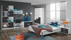 Kinderzimmer komplett Skate Grau Weiß 8395. Buy now at https://www.moebel-wohnbar.de/kinderzimmer-komplett-skate-jugendzimmer-7-teilig-grau-alpinweiss-8395