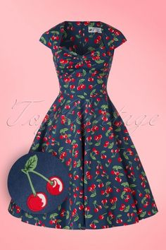April Cherry Swing Dress in Midnight Blue Daytime Dresses, 50s Dresses, Cute Dresses, Dresses For Work, Tops Vintage, Vintage Mode, Vintage Looks, Vintage Cups, Pin Up Outfits