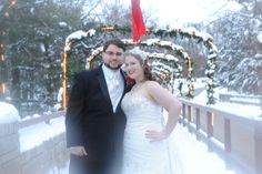 Winter weddings at Starved Rock Lodge are simply stunning. Adam & Jessica enjoyed going out for photos in the snow, rented our Trolley to bring the entire wedding party along. What a great day it was. Photo by Kathy Casstevens.