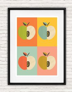 Art for kitchen, Kitchen print, Mid century modern, Retro poster, Apple print, Kitchen decor, pastel colors, Scandinavian design, Wall print  A3 420 mm x 297 mm 11.7 × 16.5 inch  **First & original prints featuring Stig Lindberg, Cathrineholm, Rorstrand and other famous scandinavian midcentury designs on etsy!**  each print is signed!  Try to look at my other prints here: http://www.etsy.com/shop/handz?ref=si_shop  -------------------------------------- Printed on...
