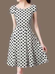 Round Neck Polka Dot Skater Dress Find latest women's clothing, dresses, tops, outerwear, and other fashion clothing and enjoy the worldwide shipping # Cheap Skater Dresses, Midi Skater Dress, Dress Silhouette, Two Piece Dress, Collar Dress, Buy Dress, Dresses Online, Trendy Outfits, Fashion Dresses