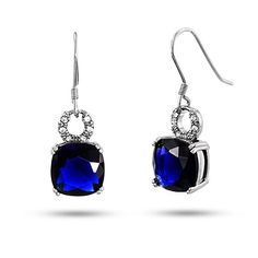 Featuring 10mm cushion cut sapphire CZ stones & CZ circle designs, the Cushion Cut Sapphire CZ Dangle Earrings in Sterling Silver are exquisite.