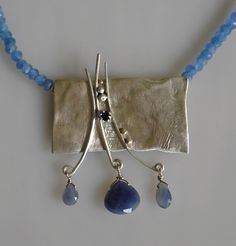 Silver and Sapphire  handmade necklace Christine Peters Hamilton