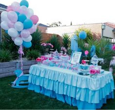 blue and pink for a cinderella party. Love this idea for a table!