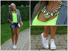 White Converse, Jean shorts, Neon yellow tank, Gray cardigan, Neon yellow statement necklace