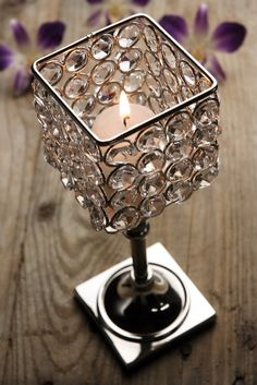 """Crystal Candle Holders 8.5"""" Pedestal Square Top $12 each / 2 for $10 each"""