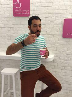 Chef Mellas in Happyo frozen yogurt Mykonos