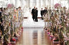 Flower tree vines lining ceremony aisle.  Venue: St. Vibiana Cathedral. Event Planner: Linda Gray.  Florist: Zazzilla Floral Couture.  Grace Ormonde: Real Weddings
