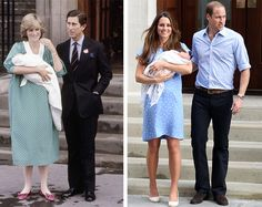 Royal Babies...Kate Middleton exits hospital just as Princess Diana did