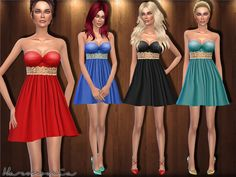 The Sims Resource: Metal - Waistband Cocktail Dress by Harmonia • Sims 4 Downloads