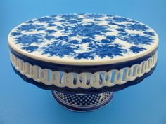 Blue & White Victorian Toile Floral Porcelain Collection Cake Plate Stand  #CIB