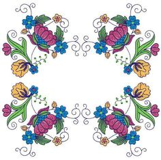 Bright Jacobean Flowers - Sensational Stitches | OregonPatchWorks Rose Embroidery, Custom Embroidery, Embroidery Thread, Machine Embroidery Designs, Embroidery Patterns, Jacobean, Free Design, Oregon, Needlework