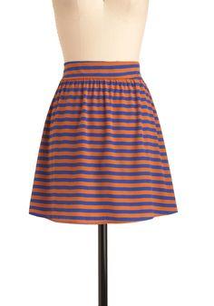 Peanut Butter and Jam Session Skirt - Short, Casual, Orange, Purple, Stripes, Mini