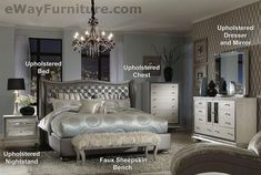 AICO Hollywood Swank Metallic Graphite Leather Queen Bed Bedroom Furniture #AICO #HollywoodRegency