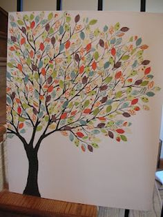 tree branch and scrapbook paper leaves