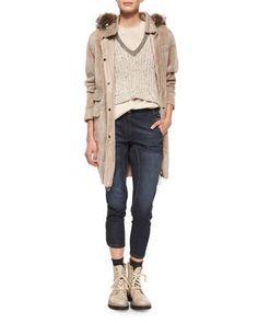Brunello Cucinelli Reversible Shearling/Fox Fur Coat, Embellished-Neck Sweater Crop Top, Layered-Back Silk Tank & High-Waist Seamed Denim Jeans Fall 2015