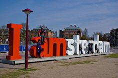 The city of Amsterdam's marketing slogan is the centerpiece of the Museumplein, a large open space that borders the Rijksmuseum, Van Gogh Museum, and Concertgebouw.